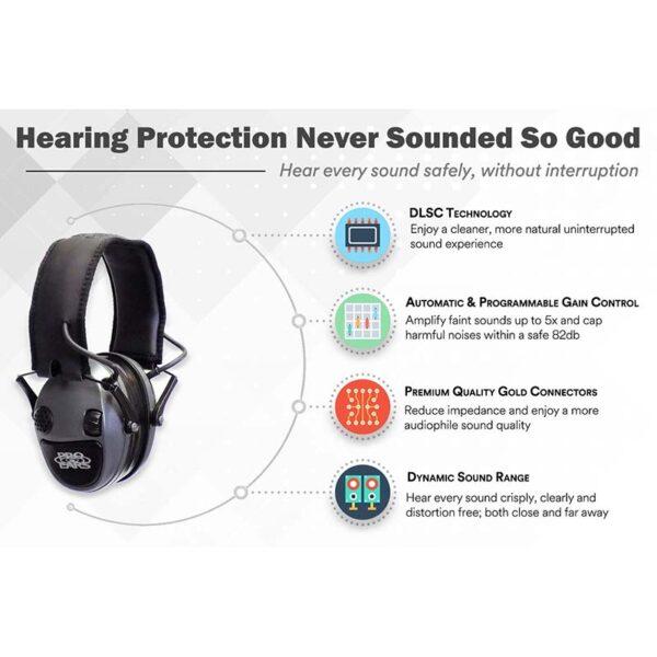 Pro Ears PESILVER Silver 22 Electronic Ear Hearing Protection Amplification Earmuffs Information