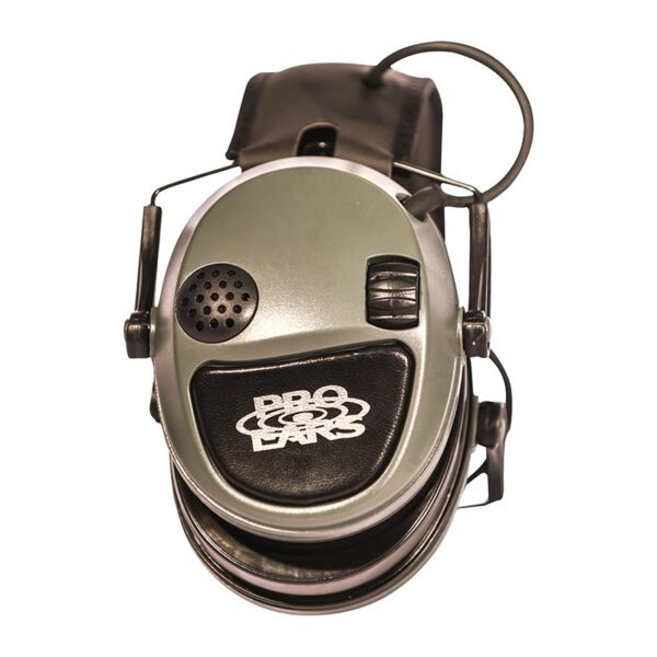 Pro Ears PESILVER Silver 22 Green Folded Side View Electronic Hearing Protection Amplification Earmuffs