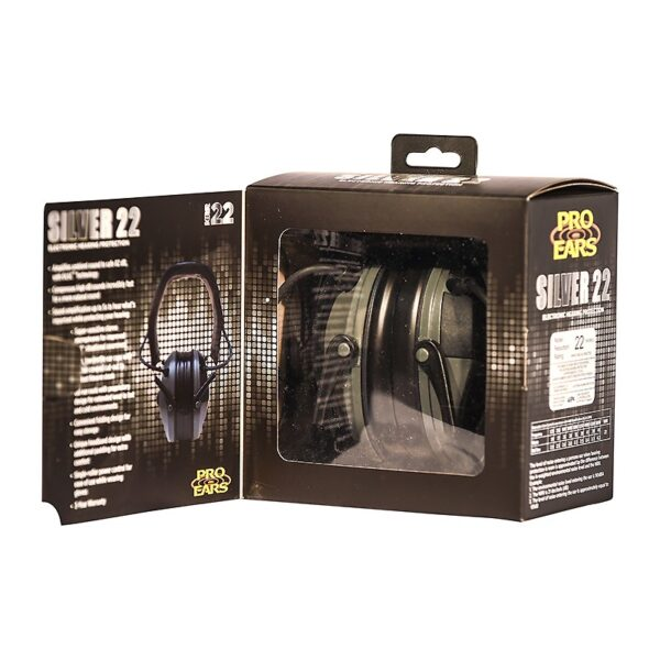 Pro Ears PESILVER Silver 22 Green Packaging 01 Electronic Hearing Protection Amplification Earmuffs