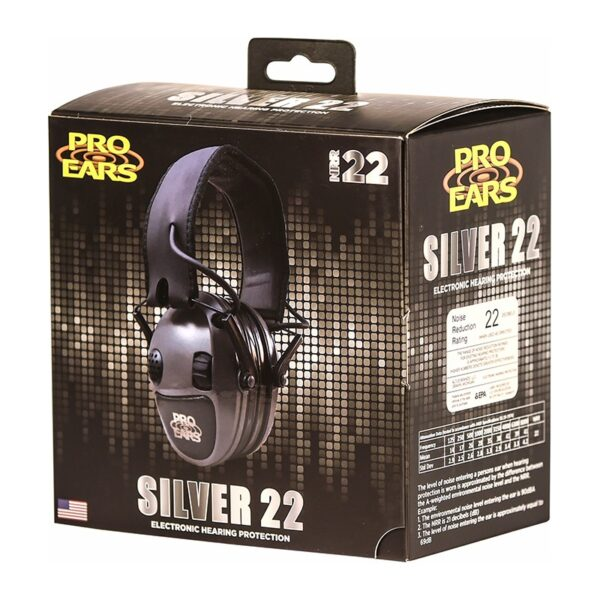 Pro Ears PESILVER Silver 22 Green Packaging 02 Electronic Hearing Protection Amplification Earmuffs